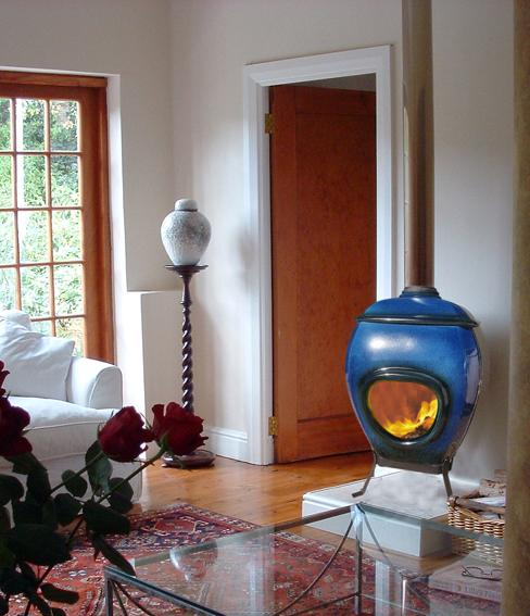 potkachel BLUE african flame houtvuur
